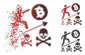 Deadly Bitcoin Achievement Icon In Dispersed, Pixelated Halftone And Undamaged Whole Versions. Piece poster