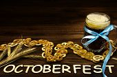 October Fest Concept. Pub Mug Pint Glass Cup Of Dark Beer With Blue Tape, Snacks, Chips, Sweet Pritz poster