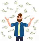 Cash/money/currency Bills Falling Around Young Man.  Falling Money  Successful Finance And Business  poster