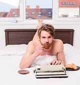Coffee Inspiring Him To Write. Man Writer Lay Bed Bedclothes Working Book. Writer Romantic Author Us poster