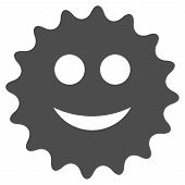 Glad Sticker Vector Pictogram. Style Is Flat Graphic Gray Symbol. poster