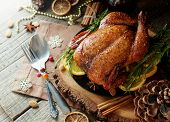 Baked Turkey For Christmas Dinner Or New Year Space For Text poster