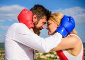 Couple In Love Boxing Gloves Hug Blue Sky Background. Man Beard And Girl Cuddle Happy After Fight. F poster