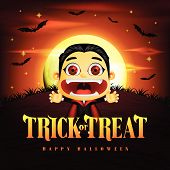 Halloween Trick Or Treat Background And Funny Dracula Character In The Midnight With Flying Bats. Ve poster