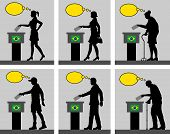 Brazilian Citizens Voting For Election In Brazil With Thought Bubble. All The Silhouette Objects And poster