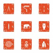 Coating Icons Set. Grunge Set Of 9 Coating Icons For Web Isolated On White Background poster