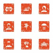 Tropical Countryside Icons Set. Grunge Set Of 9 Tropical Countryside Icons For Web Isolated On White poster