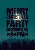 Christmas Party Typographical Vintage Style Poster With Winter Night Landscape. Retro Vector Illustr poster