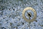 Big Thermometer With Celsius Scale Showing -5 Degree Placed In A Frozen Field With Copy Space poster