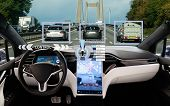 Self Driving Car On A Road. Autonomous Vehicle. Inside View. poster