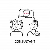 Icon Consultant, Support Consultation, Vector Icon Technical Support, Therapy Communication poster