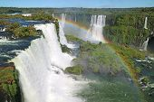 Stunning View Of Powerful Iguazu Falls (unesco World Heritage Site) From Brazilian Side With A Gorge poster