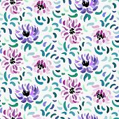 Seamless Pattern Of Purple And Pale Pink Anemone Flowers In Post-impressionism Style poster
