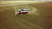 Aerial drone shot of a combine harvester working in a field. Tractors and farm machines harvesting c poster