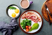 Ketogenic Diet Breakfast. Fried Egg, Bacon And Avocado, Spinach And Bulletproof Coffee. Low Carb Hig poster
