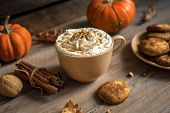 Pumpkin Spice Latte. Cup Of Latte With Seasonal Autumn Spices, Cookies And Fall Decor. Traditional C poster
