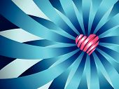 Heart Ribbon Blue Background
