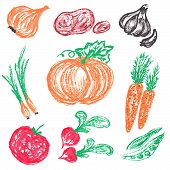 Doodle Logos. I Love Organic. Vector Illustration For Menu Of Restaurants, Packaging, Advertising. S poster