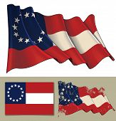 Vector Illustration Of American Civil War South Confederate States Waving Flag. Textured Version And poster