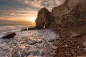 Seascape During Sunset. Beautiful Natural Seascape, Blue Hour. Sea Sunset At The Black Sea Coast Nea poster