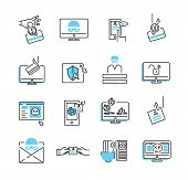 Phishing Icon Collection Set. Vector Illustration Of Privacy Data Stealing. Trojan, Spyware And Viru poster