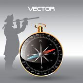 Vector Compass Icon with The Captain
