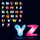 Vector Glowing Alphabet