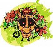 Flowers in a skull. Vector illustarion