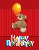 Bear with a balloon. Vector template on birthday
