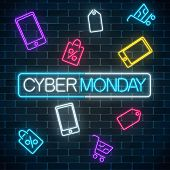 Glowing Neon Sign Of Cyber Monday Sale In Rectangle Frame With Shopping Symbols. Seasonal Sale Web B poster