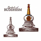 Buddhism Religion Symbol Sketch Of Buddhist Monk Stupa. Ancient Temple Building With Relics For Monk poster