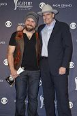 LAS VEGAS - APRIL 3 - Zac Brown with James Taylor in the press room at the 46th Annual Academy of Country Music Awards in Las Vegas, Nevada on April 3, 2011.