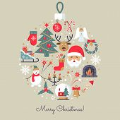 Merry Christmas Icons. Elegant Minimal Design In Flat Style. Christmas Party Elements. Colorfull Pic poster