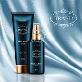 Cosmetic Advertising Poster With Realistic Containers For Skin Care Products On Light Blue Smooth Sa poster