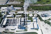 Cement Production, Plant For Burning Cement Mix. Aerial Photography. poster
