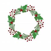 New Year And Christmas Wreath Flat Design Icon Isolated On White Background. Natural Holiday Wreath  poster