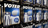 Voters People Voting Election Democracy Action Figure 3d Illustration poster