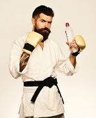 Oriental Sports Concept. Combat Master Drinks Refreshing Water poster