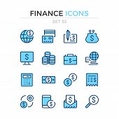 Finance Icons. Vector Line Icons Set. Premium Quality. Simple Thin Line Design. Modern Outline Symbo poster