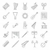 Musical Instruments Icons Set. Outline Musical Instruments Vector Icons Set For Web Design Isolated  poster