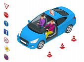 Design Concept Driving School Or Learning To Drive. Flat Vector Isometric Illustration poster