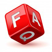 stock photo of faq  - vector illustration of dice faq icon - JPG