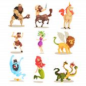 Ancient Mythical Creatures Set, Cyclops, Centaur, Unicorn, Satyr Faun, Medusa Gorgon, Three Headed D poster