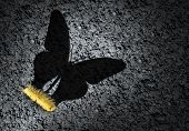 Aspiration Concept And Ambition Idea As A Larva Casting A Shadow Of A Butterfly As An Achievement An poster