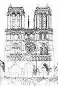 Vector Illustration, In Sketch Style, Of Notre Dame De Paris - Paris, France poster
