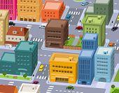 Cartoon cidade - centro da cena