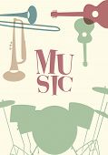 Jazz Poster. Set Of Musical Instruments Typical Of Jazz Music poster