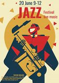 Jazz Music Festival Poster Illustration. Jazz Club Band Concert Placard Flat Retro Or Modern Design  poster