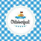 Oktoberfest Poster Vector Illustration With Fresh Lager Beer On Blue White Flag Background. Celebrat poster