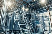 Modern Brewery Production Steel Tanks And Pipes, Machinery Tools And Vats, Beer Production, Toned poster